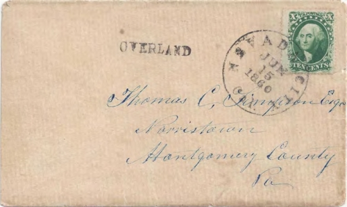 "Figure 9-19. Cover sent on June 15, 1860 from Nevada City, California via San Francisco to Pennsylvania with a Nevada City ""OVERLAND"" handstamp."
