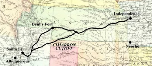 Figure 10-1. Map of the Santa Fe mail route, showing the intermediate stop at Bent's Fort and the Cimarron Cutoff, which shortened the route.