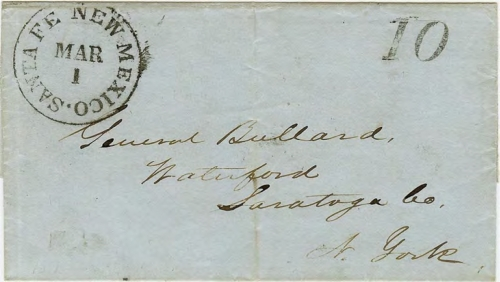 Figure 10-2. Letter postmarked in Santa Fe on March 1, 1851 and carried on route 4888 to Independence, Missouri.