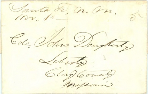 Figure 10-3. Letter postmarked in Santa Fe on November 1, 1851 and carried on route 4888 to Independence.