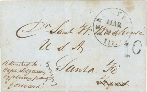 Figure 10-4. Letter postmarked in Jerseyville, Illinois on March 20, 1851 and carried on route 4888 to Santa Fe.