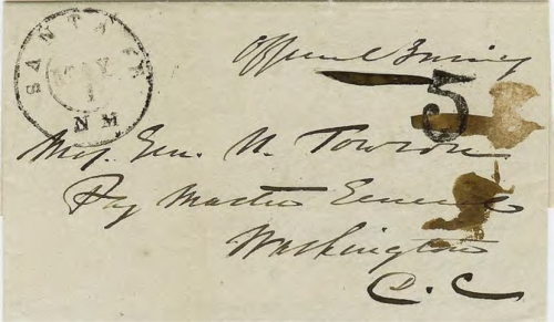 Figure 10-5. Letter postmarked in Santa Fe on May 1, 1852 and carried on route 4888 to Independence.
