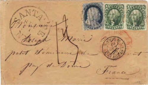 Figure 10-6. Letter postmarked in Santa Fe on September 1, 1856 and carried on route 8912 to Independence, Missouri.