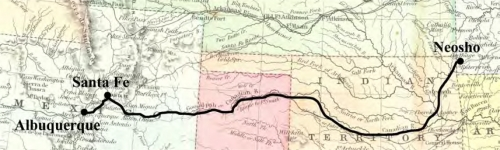 Figure 10-9. Map of contract mail route 10615 between Albuquerque, New Mexico Territory and Neosho, Missouri.