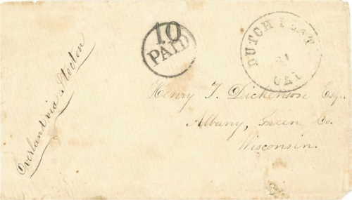 Figure 10-11. Letter postmarked in Dutch Flat, California on January 21, 1859 and carried on route 15050 to Kansas City, Missouri.