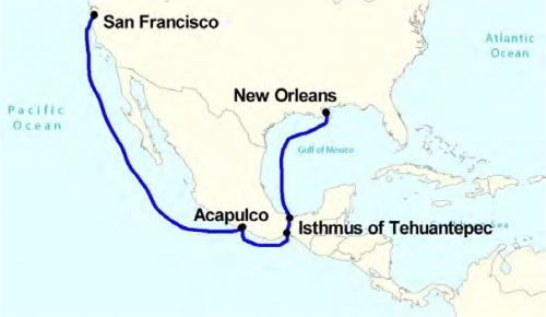 Figure 11-1. Map of the route via Tehuantepec, Mexico.