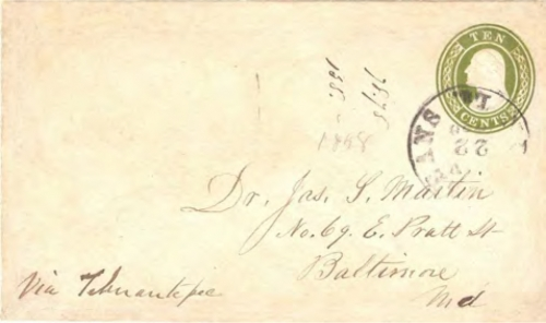 Figure 11-3. Eastbound letter endorsed via Tehuantepec which entered the mails at New Orleans on November 22, 1858.