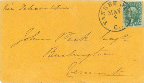 Figure 11-4. Letter postmarked at Yankee Jims, California on May 4, 1859 and carried via San Francisco and Tehuantepec to Vermont.