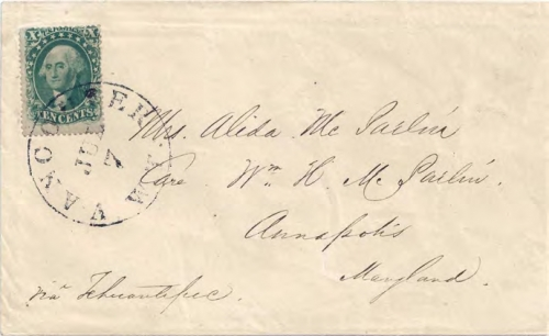 Figure 11-6. Letter posted in Vancouver, Washington Territory on July 7, 1859. Carried via San Francisco and Tehuantepec to Maryland.