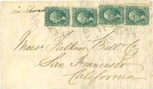 Figure 11-7. Letter postmarked at New Orleans on March 11, 1859 and carried via Tehuantepec to San Francisco.