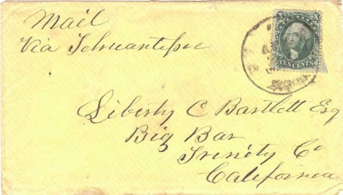 Figure 11-8. Letter postmarked at New Orleans on April 27, 1859 and carried via Tehuantepec to Big Bar, California.