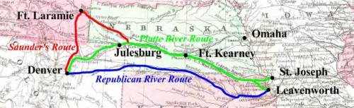 Figure 12-1. Map showing the routes used to access the Colorado Pike's Peak gold region near Denver from the Missouri River frontier towns.