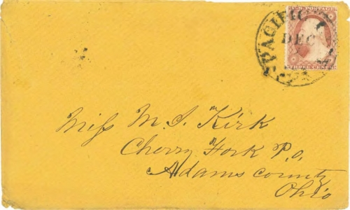 Figure 12-3. Cover datelined October 28, 1858 near Cherry Creek. Carried by a returning traveler to Pacific City, Iowa and mailed on December 4.