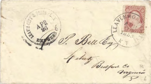 "Figure 12-5. Eastbound cover marked ""Leav'h City & Pike's Peak Express Co."" on April 26, 1859 and posted in Leavenworth City, K. T. on April 27."