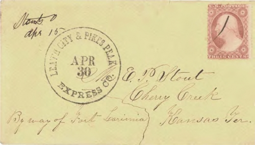 "Figure 12-6. Westbound cover posted in Stouts, Ohio on April 15, 1859. Marked ""Leav'h City & Pike's Peak Express Co. Apr 30"" at Leavenworth City."