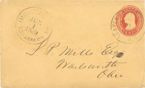 "Figure 12-7. Eastbound cover marked ""Leav'h City & Pike's Peak Express Co."" on June 1, 1859 at Denver and forwarded via Leavenworth City on June 12."