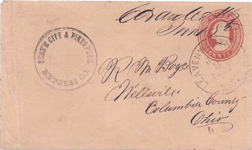 Figure 12-8. Cover postmarked at Coraville, Kansas Territory on June 8, 1859. Carried to Leavenworth City on July 2 by the L&PP.