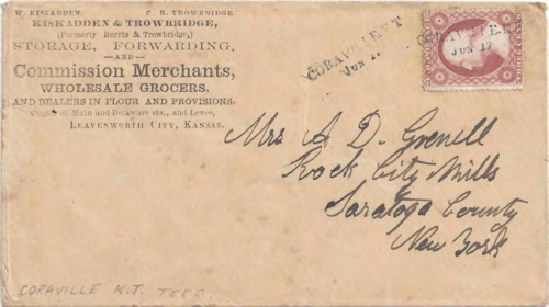 Figure 12-9. Cover postmarked at Coraville, Kansas Territory on June 17, 1859. Carried to Leavenworth City by the L&PP without express charges.