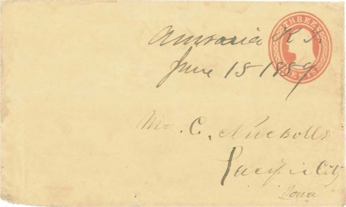Figure 12-10. Cover postmarked at Auraria, Kansas Territory on June 15, 1859. Carried to Leavenworth City by the L&PP without express charges.