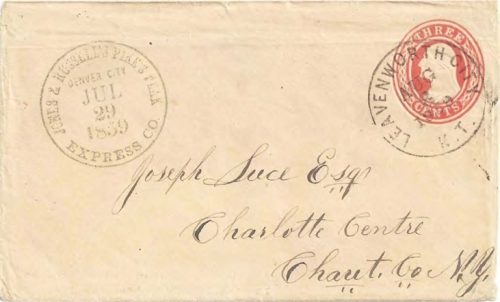 "Figure 12-11. Cover marked ""Jones & Russell's Pike's Peak Express Co. Denver City July 29, 1859."" Forwarded via Leavenworth City on August 8."
