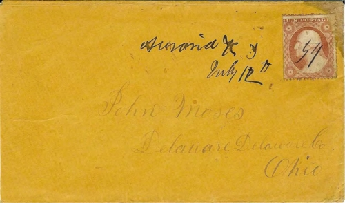 Figure 12-12. Cover postmarked with Auraria, Kansas Territory on July 12, 1859. Carried to Fort Kearney by Willis, under contract to the Auraria postmaster.