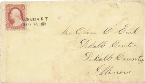 Figure 12-13. Cover postmarked at Auraria, Kansas Territory on August 23, 1859. Carried to Fort Kearney by Willis, under contract to the Auraria postmaster.