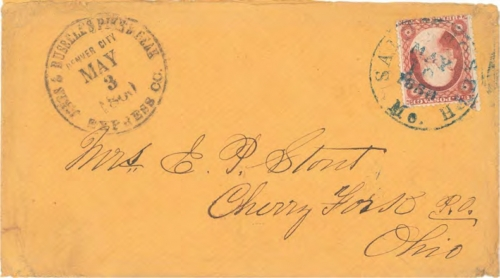 "Figure 12-14. Eastbound cover marked ""Jones & Russell's Pike's Peak Express Co. Denver City"" on May 3, 1860. Entered the U.S. mails St Joseph."