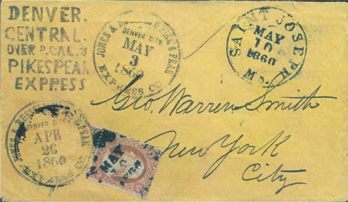 "Figure 12-15. Cover marked ""Jones & Russell's Pike's Peak Express Co. Denver City"" on April 26 (stamp applied over datestamp) and May 3, 1860. It received the Denver COC&PP woodblock marking, and was forwarded via St Joseph on May 10."