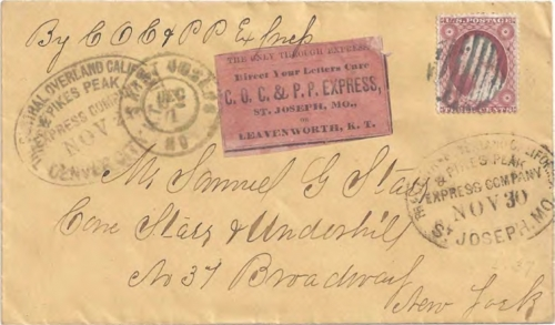 "Figure 12-16. Cover marked ""Central Overland and California Pike's Peak Express Company Denver City K.T."" on November 24, 1860. At St Joseph, it was marked with a November 30 COC&PP transit marking."