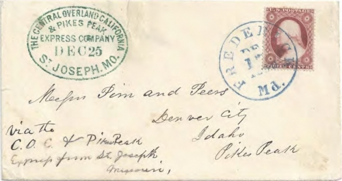 Figure 12-17. Westbound cover postmarked in Fredonia, Maryland on December 17, 1860. Forwarded at St Joseph, Missouri on December 25.