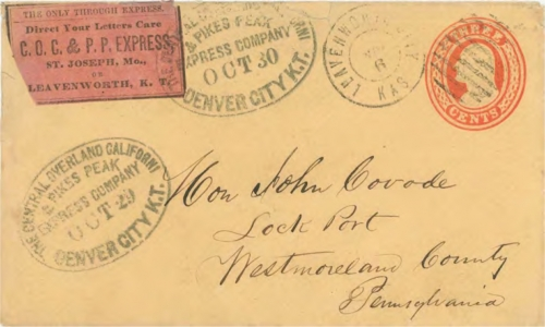 "Figure 12-18. Cover marked ""Central Overland and California Pike's Peak Express Company Denver City K.T."" on October 30, 1860. A magenta advertising label was added at Denver, and it entered the U.S. mails at Leavenworth City on November 6."