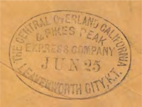 Figure 12-19. Leavenworth COC&PP datestamp on reverse of westbound cover postmarked in Leavenworth, Kansas Territory on June 25, 1860 and marked with the Leavenworth COC&PP marking of the same date. It was addressed to Hamilton, Colorado Territory.