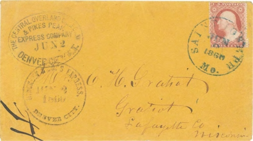 "Figure 12-20. Cover carried from the mountains and marked ""Hinckley & Co.'s Express Denver City"" on June 2, 1860 and transferred that day to the COC&PP in Denver for forwarding via St Joseph."