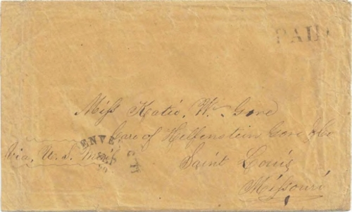 Figure 12-23. September 20, 1860 letter from Denver City carried by the COC&PP under subcontract to the Western Stage Company.