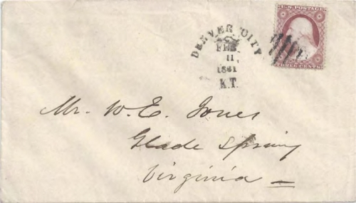 Figure 12-24. February 11, 1861 letter from Denver City carried by the Western Stage Company to Fort Kearney.
