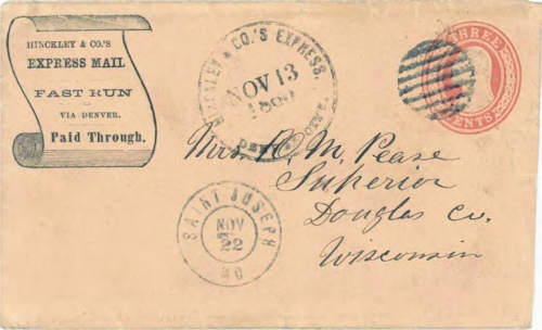 "Figure 12-25. Eastbound cover marked ""Hinckley & Co.'s Express Denver City"" on November 13, 1860. Mailed November 22 in St Joseph, Missouri."