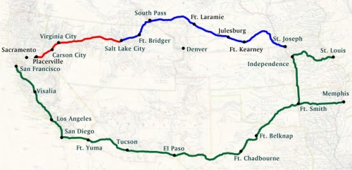 Figure 13-1. Map showing the Central Route (in blue and red) and Southern Route (in green).