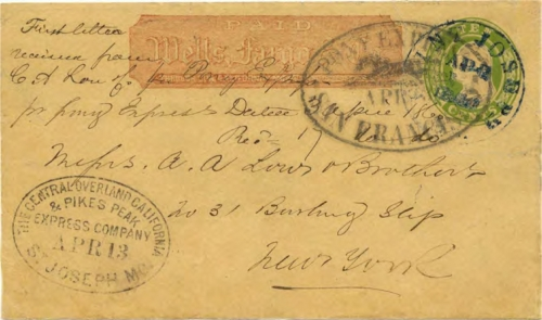 Figure 13-3. Cover carried on the first eastbound trip that departed from San Francisco on April 3, 1860 and arrived in St. Joseph, Missouri on April 13. (Census #E1)