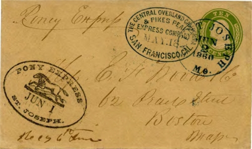 Figure 13-4. Cover carried on the eastbound Pony Express trip that departed from San Francisco on May 18, 1860 and arrived in St. Joseph on June 1. (Census #E5)