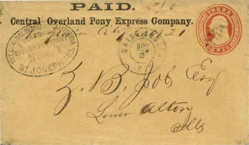 Figure 13-10. Way cover carried on the eastbound Pony Express trip that departed from San Francisco on October 20, 1860 and arrived in St. Joseph on November 1. (Census #E28)