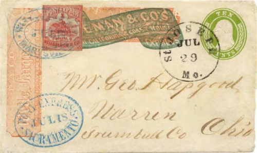 Figure 13-23. Cover carried on the eastbound Pony Express trip that left San Francisco on July 17, 1861 and arrived in St. Joseph on July 29. (Census #E116)