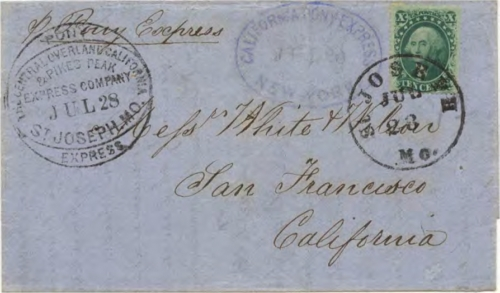 Figure 13-24. Cover carried on the westbound Pony Express trip that left St. Joseph on July 28, 1861 and arrived in San Francisco on August 8. (Census #W46)