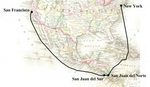 Map of route from Nicaragua between San Francisco and New York City
