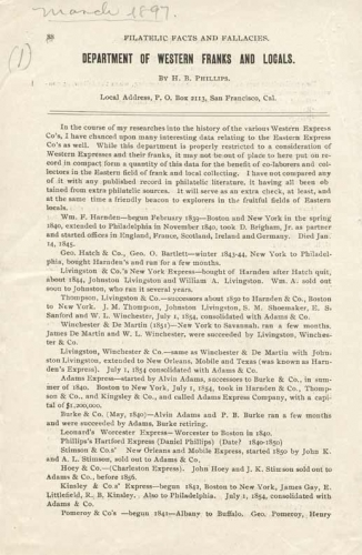 Listing of Eastern Express Companies, March, 1897