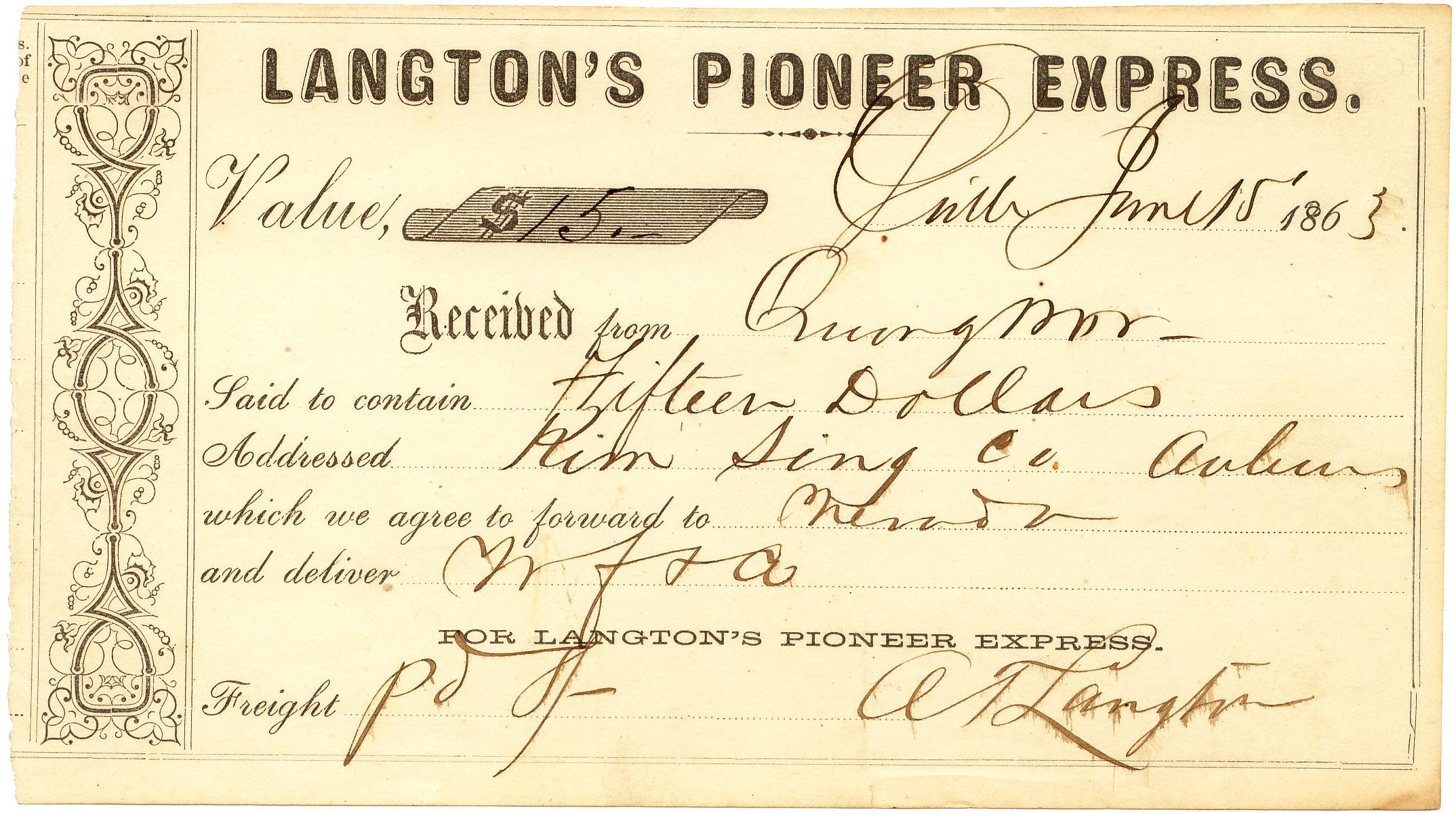 Langtons Receipt 15Jun1863 0903 Mader