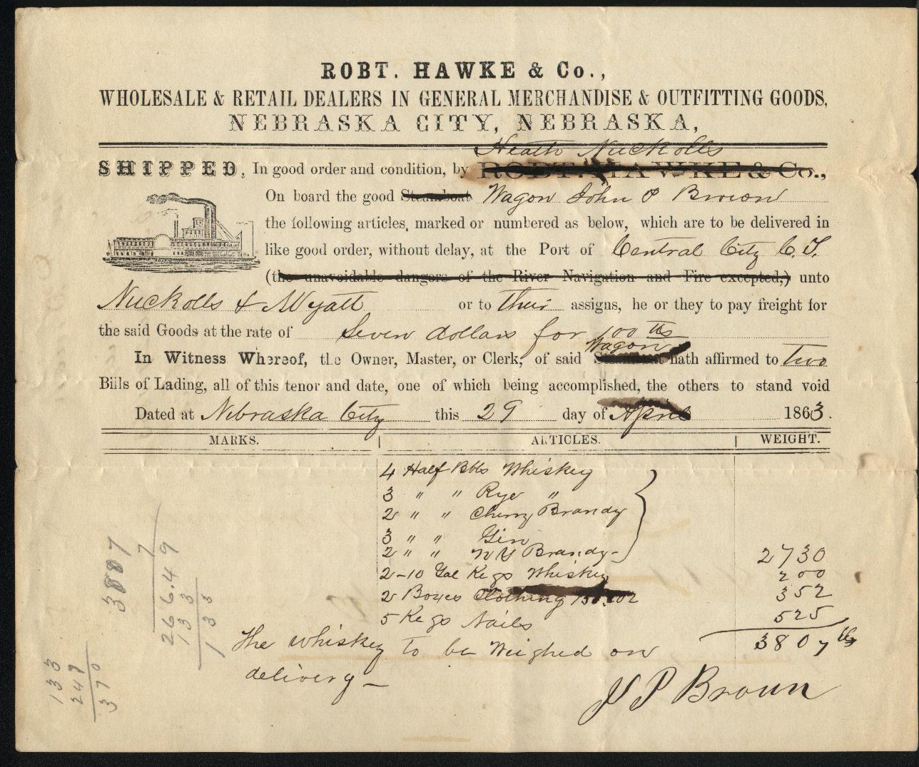 NebraskaCity 1863 BillLading
