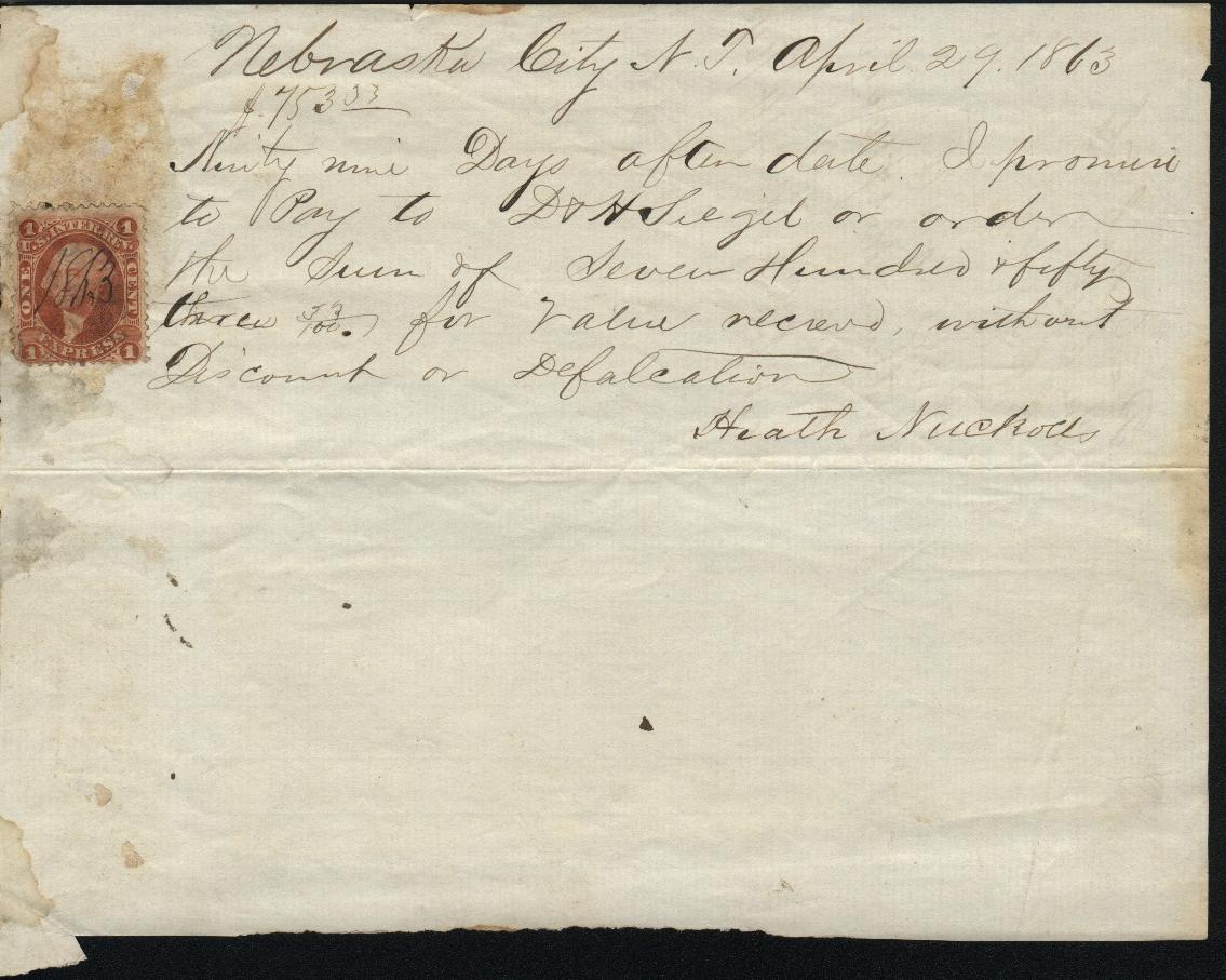 NebraskaCity 1863 Revenue