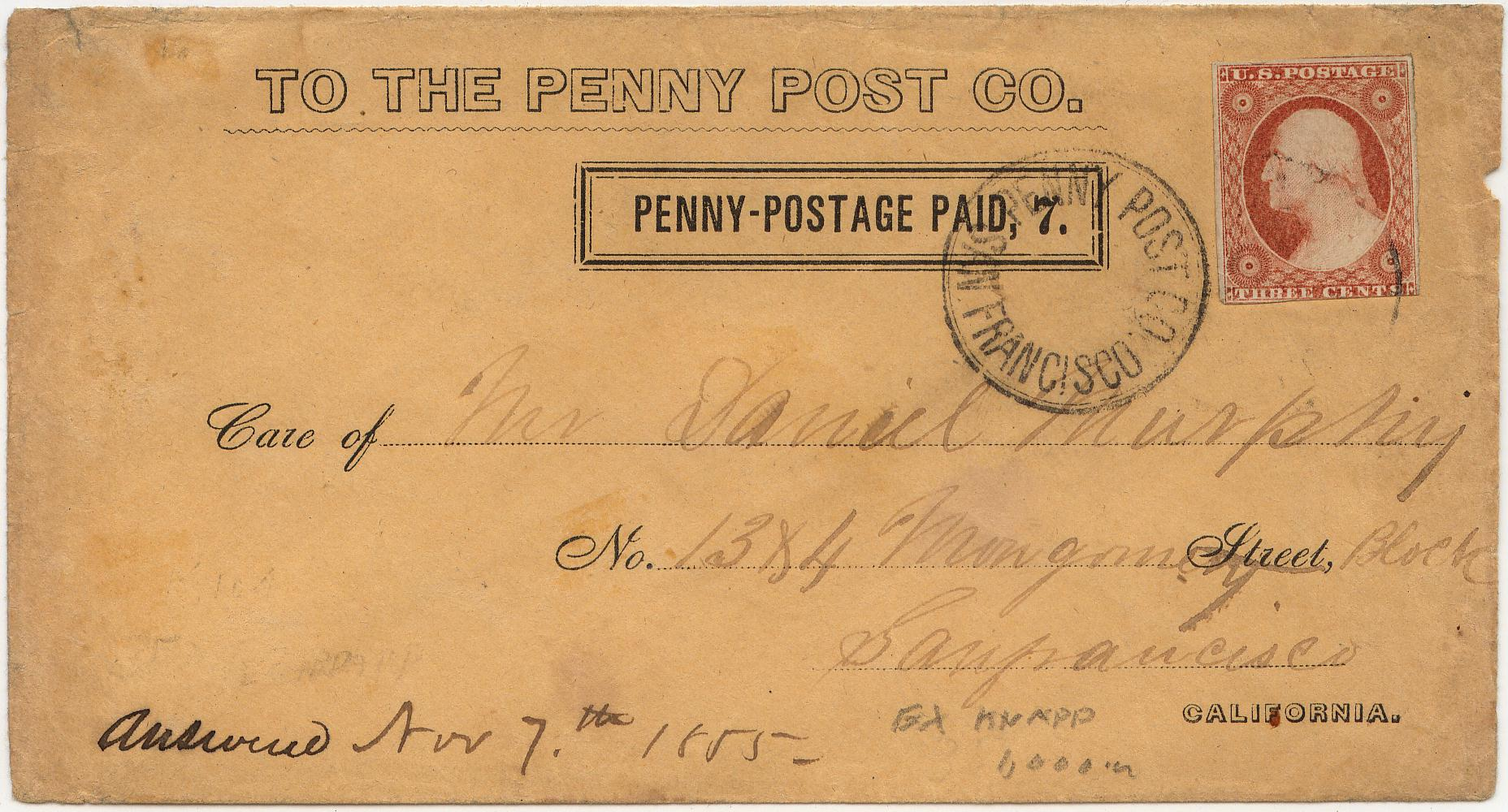 PennyPost Frank 7c Rectangle 07Nov1855 0903 Mader