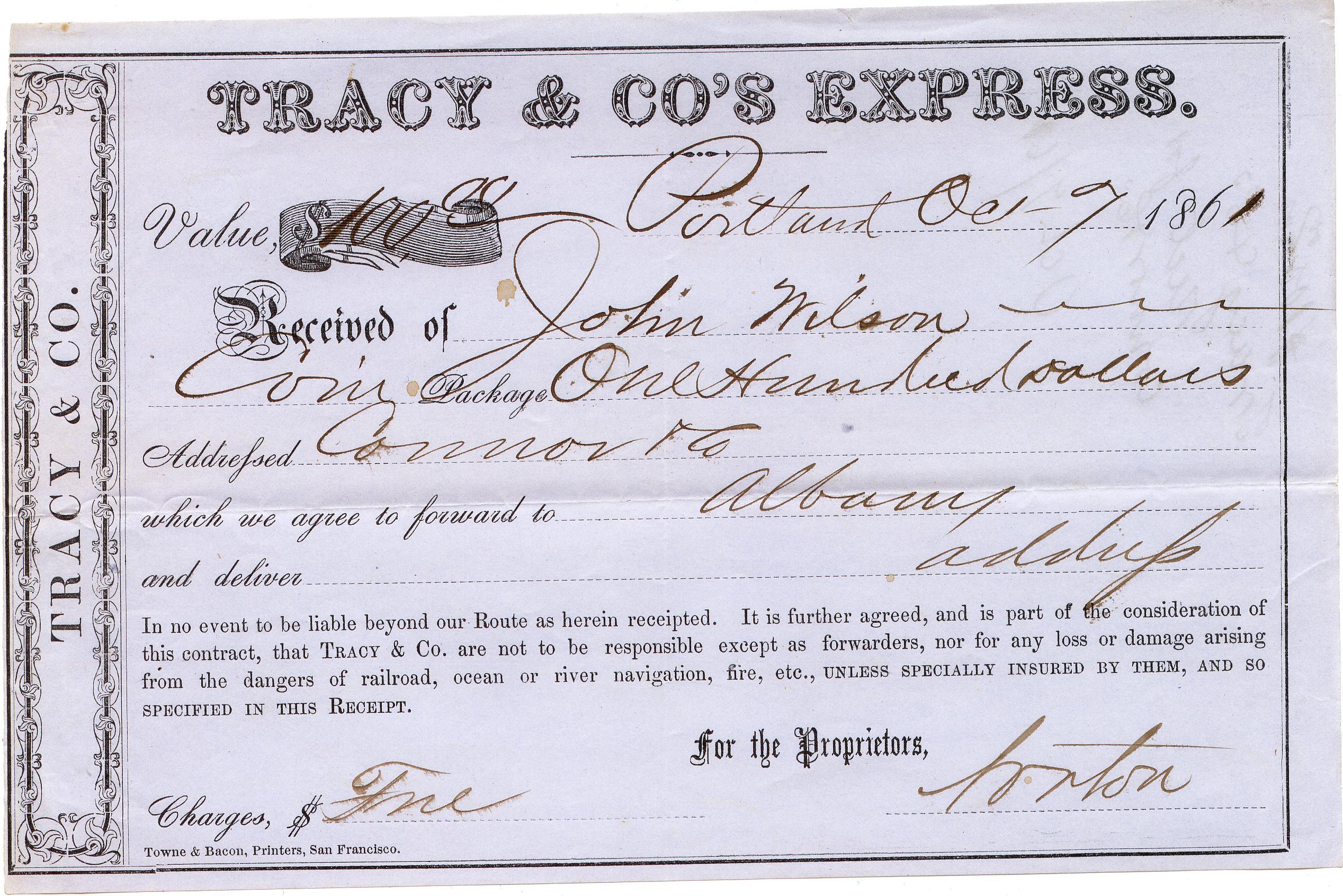 Tracys Receipt 07Oct 1861 0903 Mader