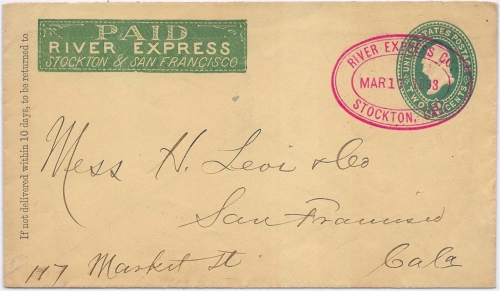 By River Express Co. Stockton, Cal. Mar 17 1893 to San Francisco.